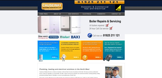 Causeway Heating Homepage - Before